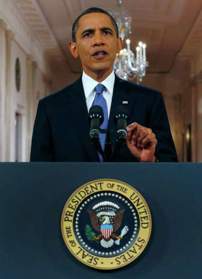 President Barack Obama delivers a televised address from the East Room of the White House in Washington, Wednesday, June 22, 2011 on his plan to drawdown U.S. troops in Afghanistan. (AP Photo/Pablo Martinez Monsivais, Pool) Photo: Pablo Martinez Monsivais