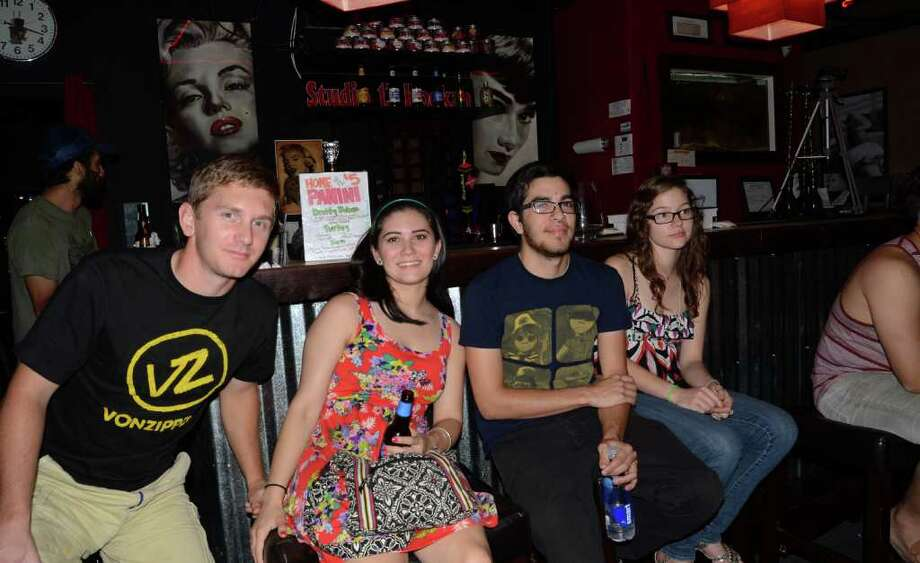 Morgan Parker (from left), Gabrielle Ramos, Jacob Stultz and Kat Jane drink in the chilled atmosphere of Studio 13. ROBIN JOHNSON / SPECIAL TO THE EXPRESS-NEWS Photo: Robin Johnson