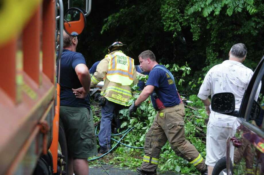 Heavy rain and thunderstorms caused flooding and downed trees throughout Fairfield County as evidenced on Intervale Road in Stamford, Conn., June 23, 2011. Photo: Keelin Daly / Stamford Advocate