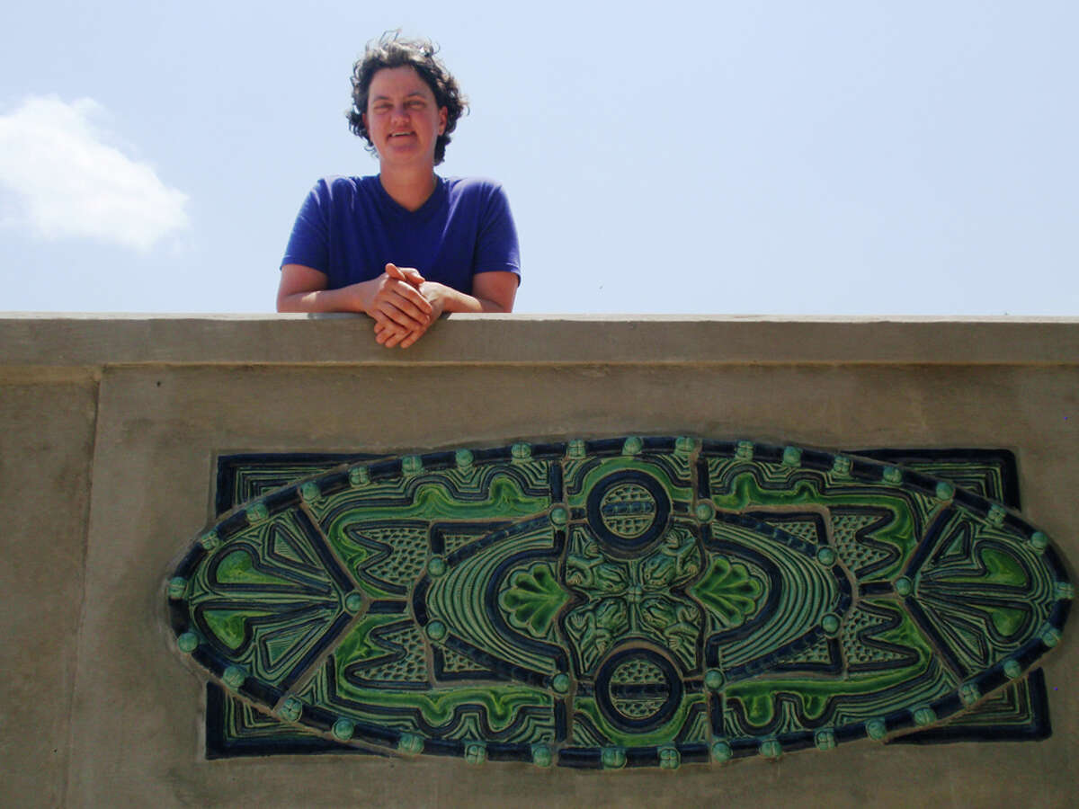 Diana Kersey drew from the connections among the bridge, water and animal life for her first public art project, the Mulberry Avenue Bridge. STEVE BENNETT / EXPRESS-NEWS