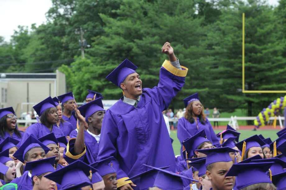 Jeremy Newton cheers during Westhill High School's class of 2011 commencement exercises in Stamford, Conn., June 23, 2011. Photo: Keelin Daly / Stamford Advocate