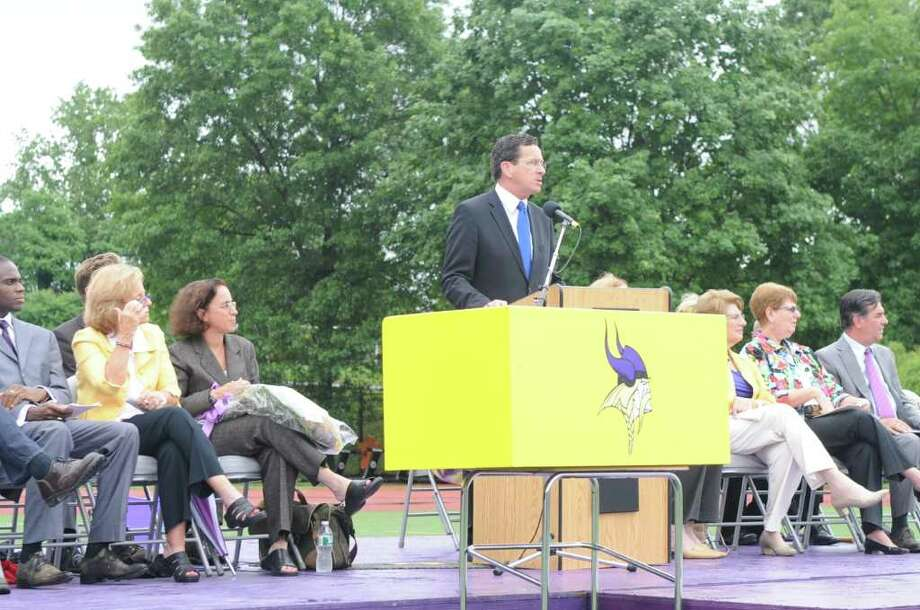 Governor Dannel P. Malloy speaks during the graduation ceremony at his alma mater Westhill High School during the class of 2011 commencement exercises in Stamford, Conn., June 23, 2011. Photo: Keelin Daly / Stamford Advocate