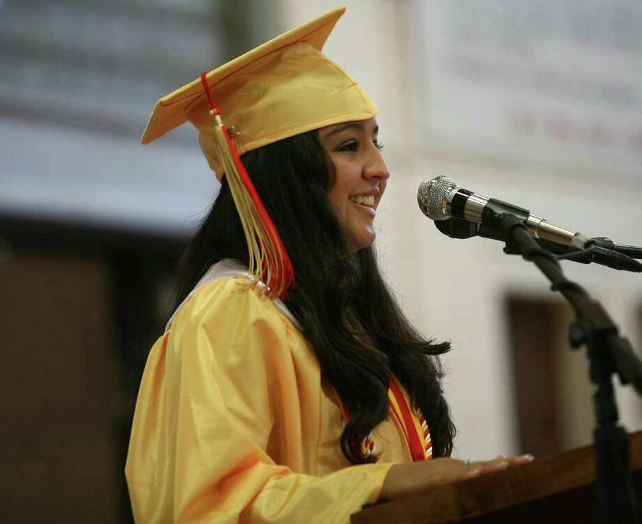 Valedictorian Jessica Barragan addresses her class at the Stratford High School graduation on Thursday, June 23, 2011. Photo: Brian A. Pounds / Connecticut Post