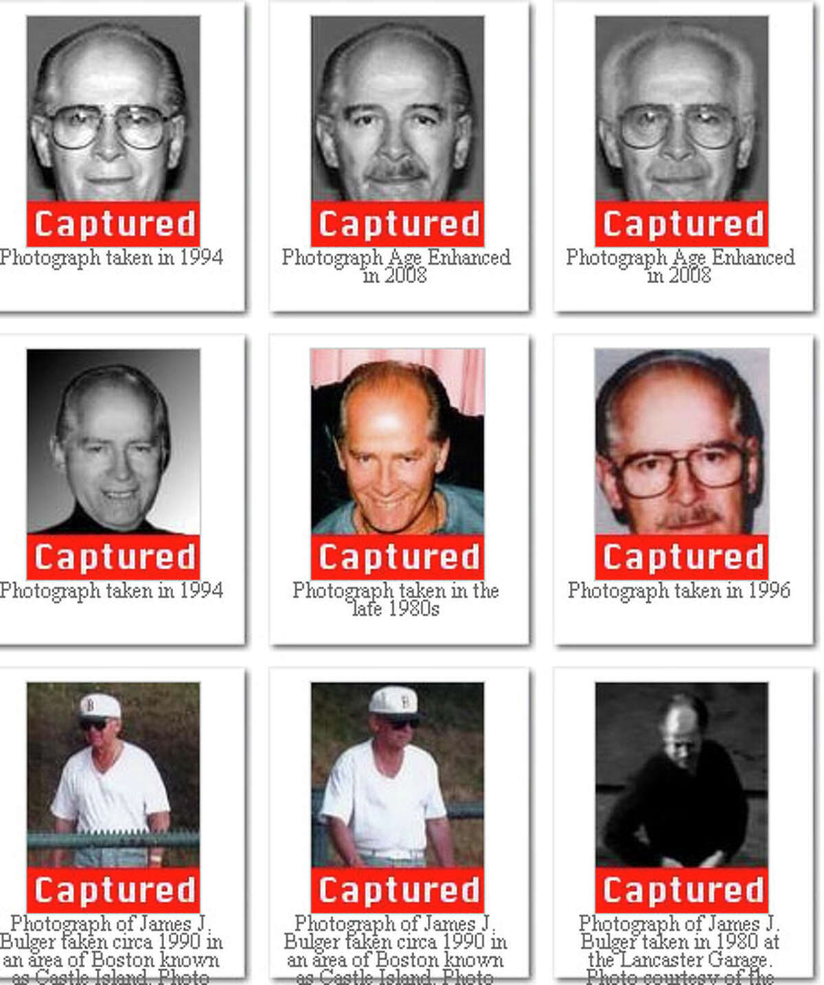 This Federal Bureau of Investigation image shows Bulger at different ages.