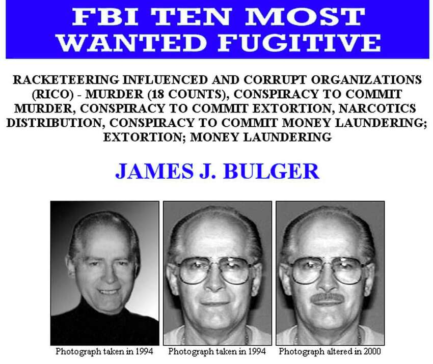 Here's an FBI Ten Most Wanted Fugitive poster of Bulger.
