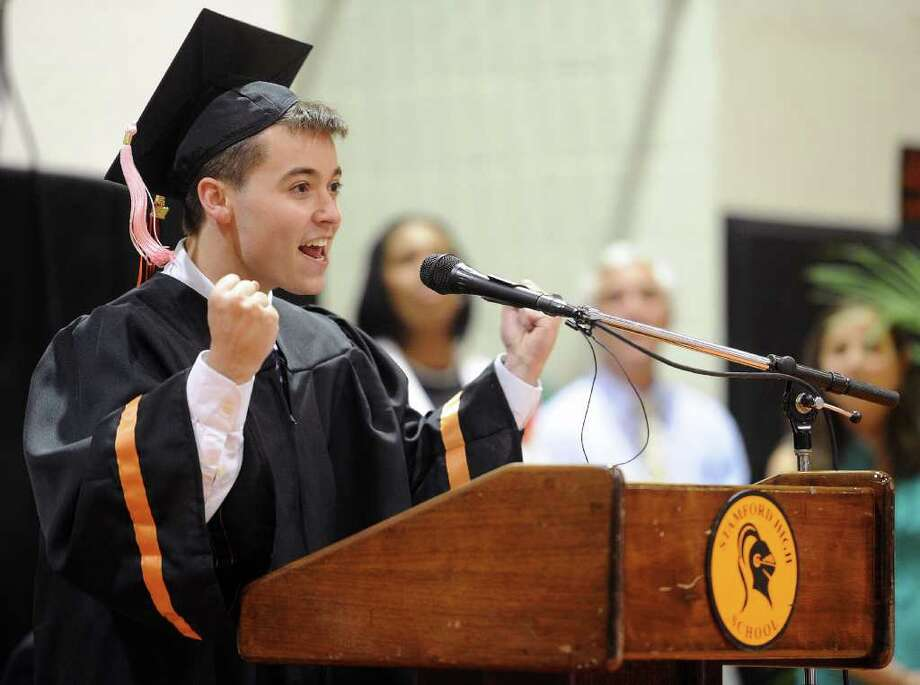 Senior class President Sean Ormond speaks during Stamford High School's graduation ceremony Thursday, June 23, 2011. Photo: Lindsay Niegelberg / Connecticut Post