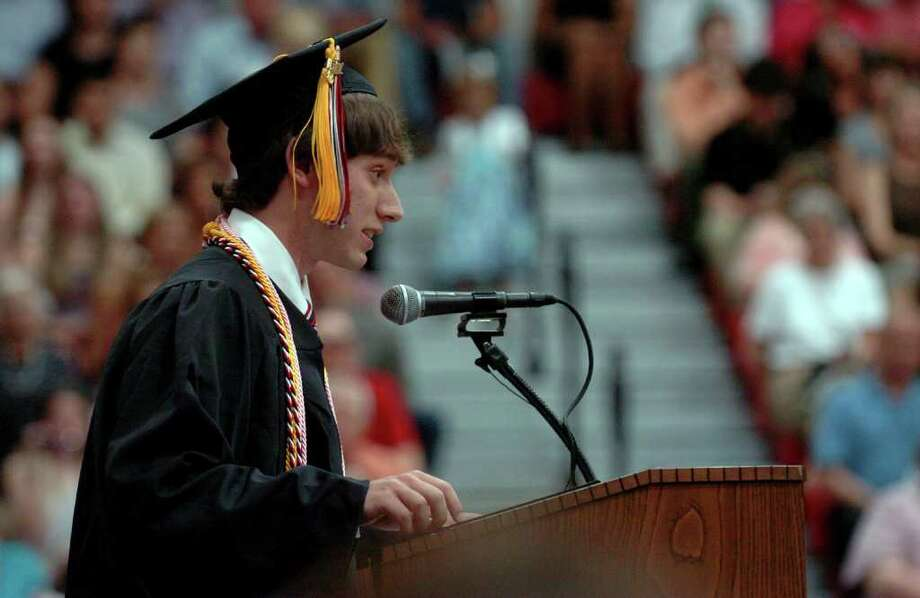 Highlights from Fairfield Warde High School's 7th Annual Commencement Exercises in Fairfield, Conn. on Wednesday June 23, 2011. Benjamin Krauss gives the Class of 2011 Address. Photo: Christian Abraham / Connecticut Post