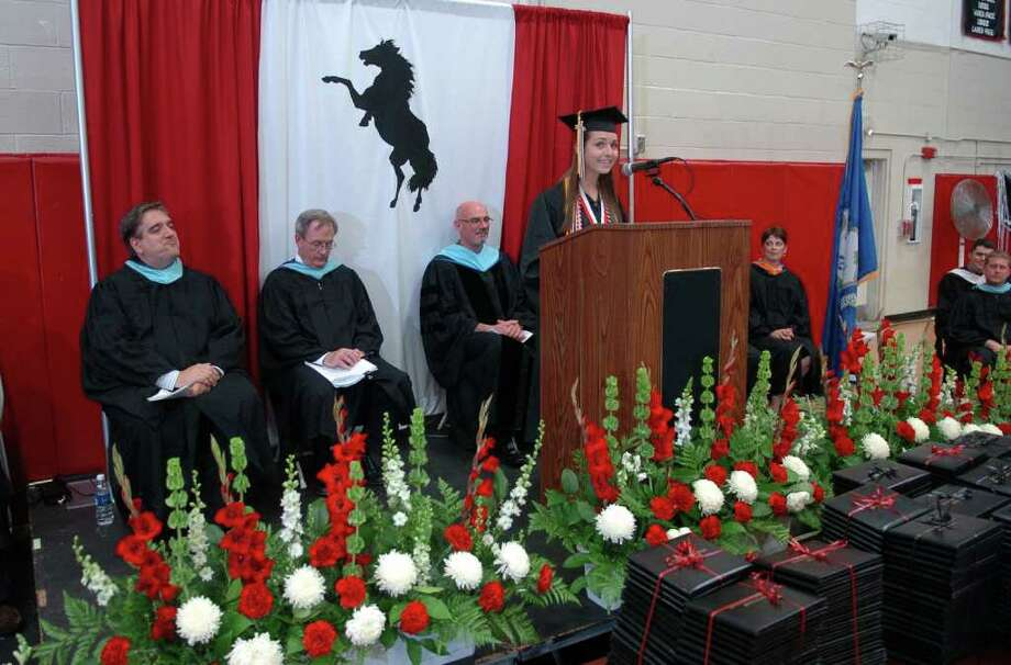 Highlights from Fairfield Warde High School's 7th Annual Commencement Exercises in Fairfield, Conn. on Wednesday June 23, 2011. Molly Brachfeld gives the Salutatory Address. Photo: Christian Abraham / Connecticut Post