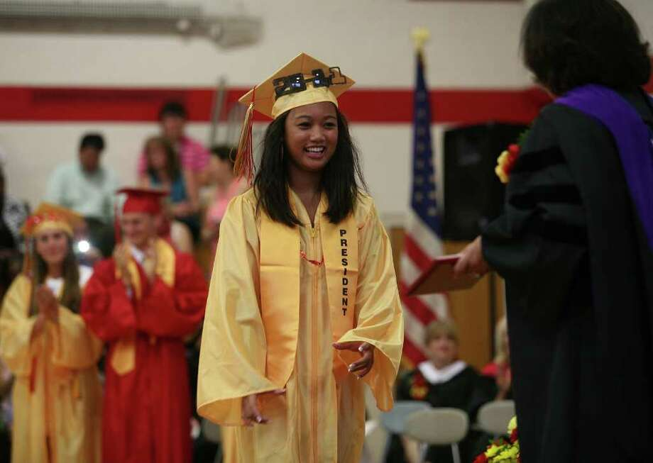 Stratford High School graduation on Thursday, June 23, 2011. Class President Emyline Lumasag. Photo: Brian A. Pounds / Connecticut Post