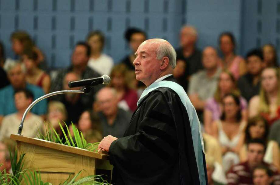 Superintendent Edward Malvey speaks during the Oxford High School Class of 2011 commencement on Thursday, June 23, 2011. Photo: Amy Mortensen / Connecticut Post Freelance