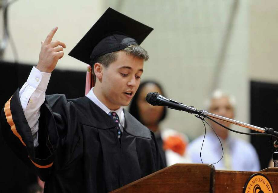 Senior Class President Sean Ormond speaks during Stamford High School's graduation ceremony on Thursday, June 23, 2011. Photo: Lindsay Niegelberg / Connecticut Post