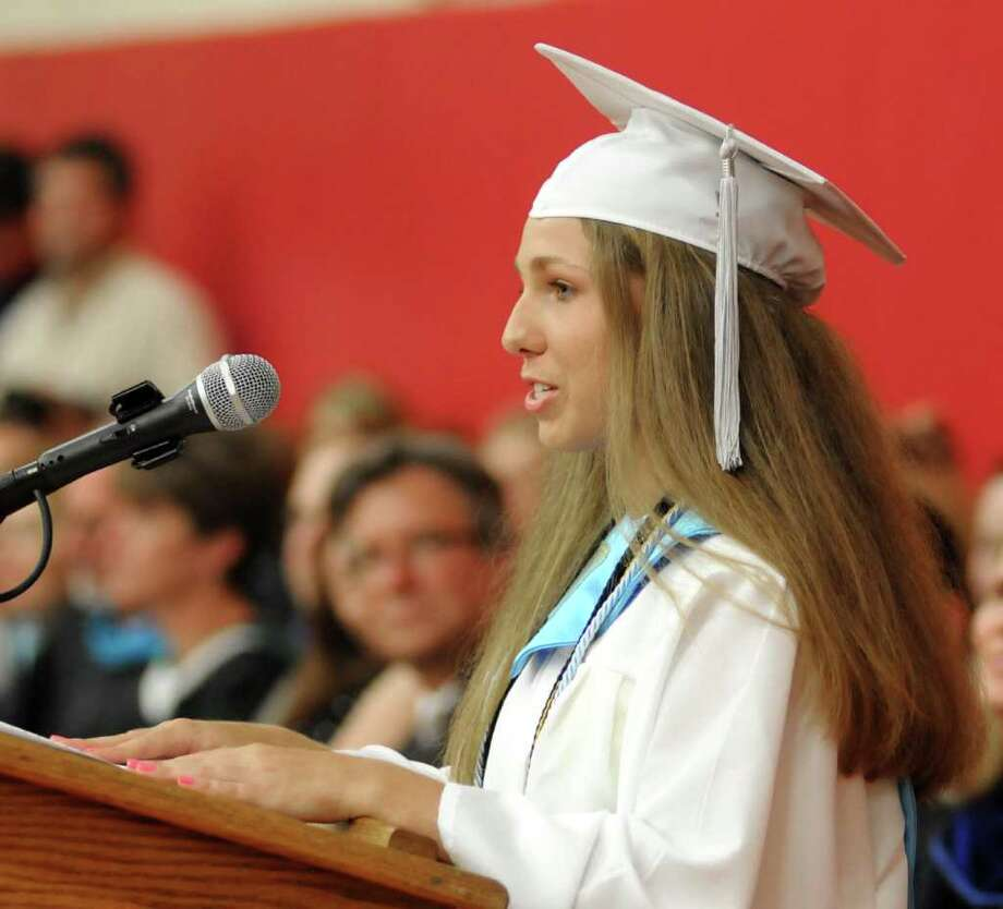 Natalie Ciancetta, 18, addresses the 2011 geaduating class during Masuk High School Graduation ceremony on Thursday June 23, 2011. Commencement ceremonies where held in the gymnasium due to rain. Photo: Lisa Weir / The News-Times Freelance