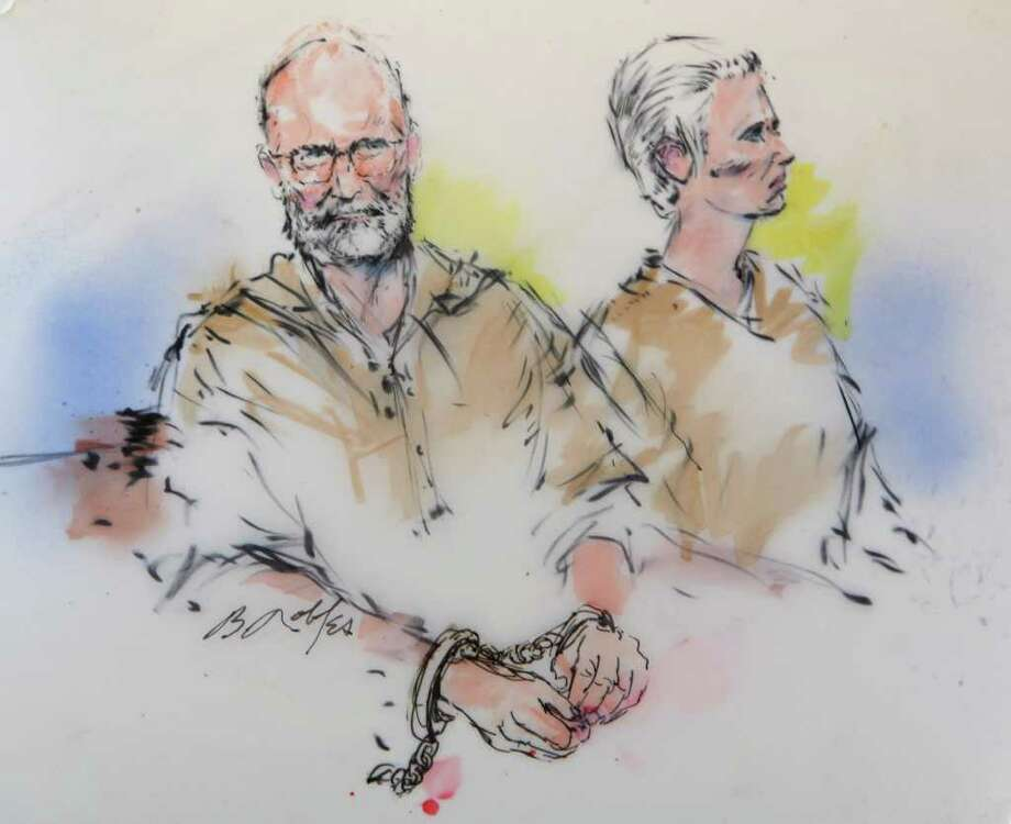 In this courtroom sketch, James 'Whitey' Bulger, left, and his girlfriend, Catherine Grieg, are shown during their arraignment in a federal courtroom in downtown Los Angeles, Thursday, June 23, 2011. (AP Photo/Bill Robles) Photo: Bill Robles