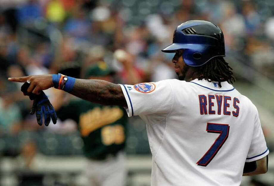 New York Mets' Jose Reyes reacts after hitting an RBI-single during the sixth inning of an interleague baseball game on Thursday, June 23, 2011, at Citi Field in New York. The Mets won the game 4-1. (AP Photo/Frank Franklin II) Photo: Frank Franklin II