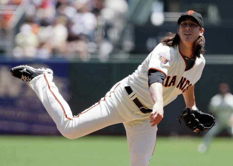 San Francisco Giants starting pitcher Tim Lincecum throws against the Minnesota Twins during the first inning of their interleague baseball game in San Francisco, Thursday, June 23, 2011. San Francisco won the game 2-1. Lincecum was the winning pitcher and had 12 strikeouts. (AP Photo/Eric Risberg) Photo: Eric Risberg