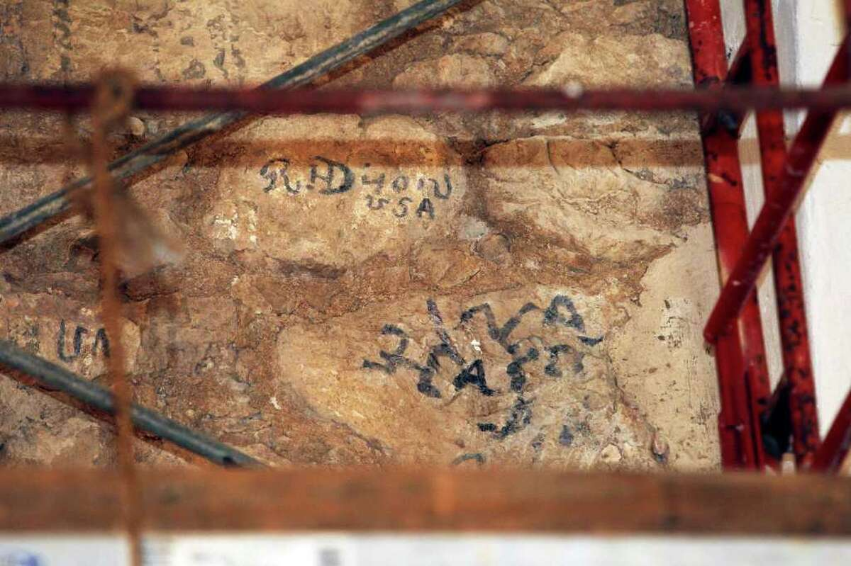 These markings, believed to be from the Civil War era, were uncovered by Alamo conservator Pam Jary Rosser. Officials think the marks might have been made by a member of the secretive Knights of the Golden Circle.