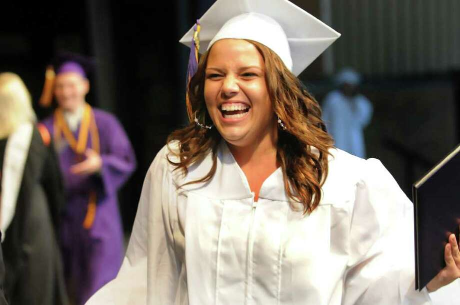 Graduate Kaetlynn Donnahie celebrates receiving her diploma during the Ballston Spa commencement ceremonyThursday, June 23, 2011, at Saratoga Performing Arts Center in Saratoga Springs, N.Y. (Cindy Schultz / Times Union) Photo: Cindy Schultz