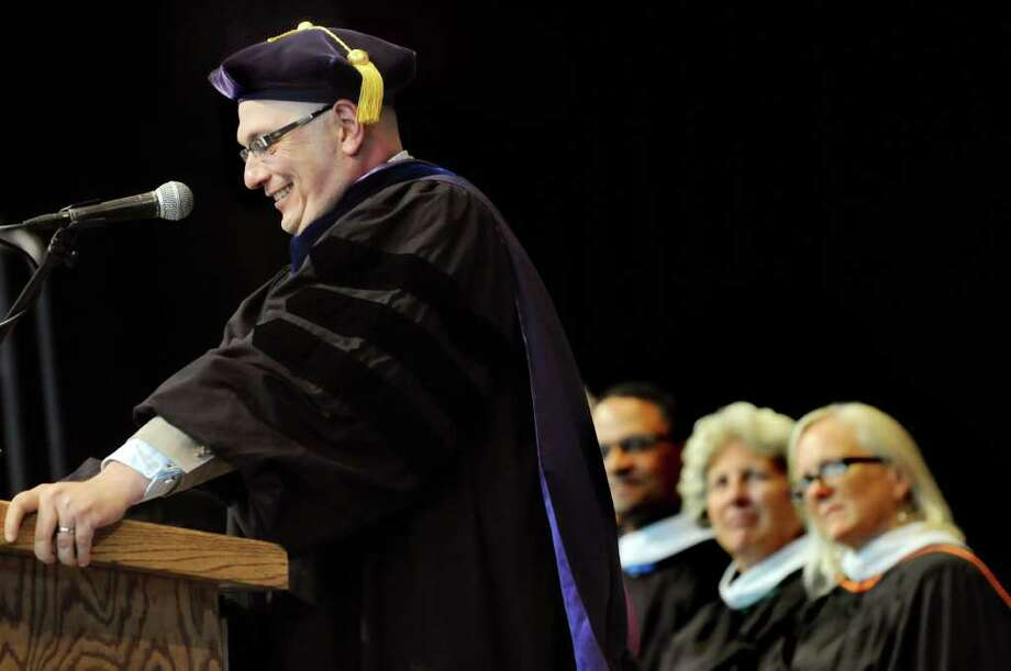 Superintendent Joseph Dragone, left, speaks to the Ballston Spa graduating class of 2010 during commencement exercises on Thursday, June 23, 2011, at Saratoga Performing Arts Center in Saratoga Springs, N.Y. (Cindy Schultz / Times Union) Photo: Cindy Schultz