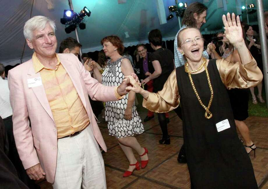 Beckett, MA - June 18, 2011 - (Photo by Joe Putrock/Special to the Times Union) - Jacob's Pillow Board Member Nancy Kalodner(right) hits the dance floor with Doug Shufelt(left) during the Jacob's Pillow 2011 Season Opening Gala. Photo: Joe Putrock / Joe Putrock