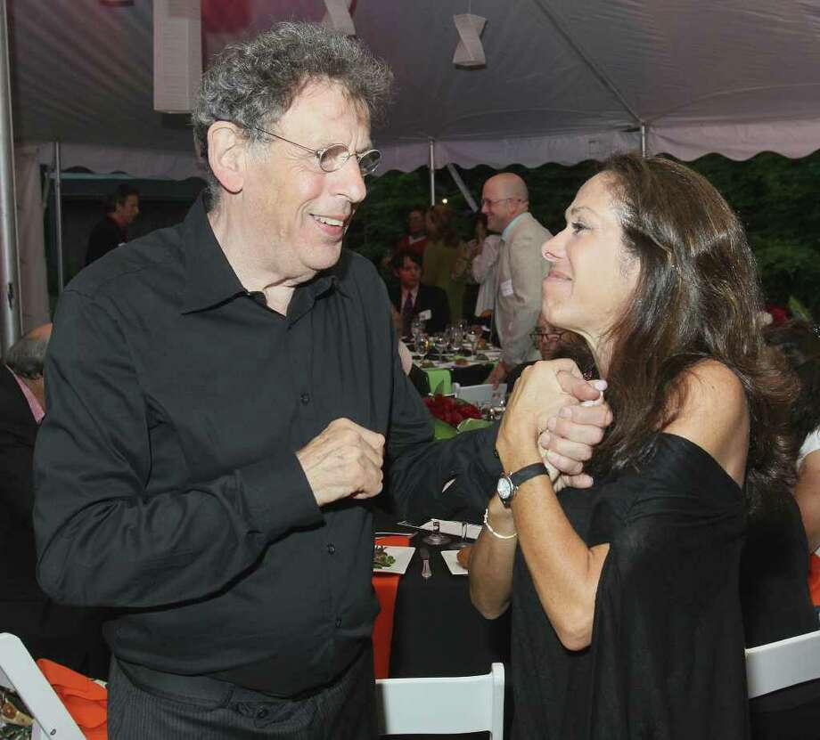 Beckett, MA - June 18, 2011 - (Photo by Joe Putrock/Special to the Times Union) - After his solo performance, acclaimed pianist and composer Philip Glass(left) is greeted by Elissa Myers(right) during the Jacob's Pillow 2011 Season Opening Gala. Photo: Joe Putrock / Joe Putrock