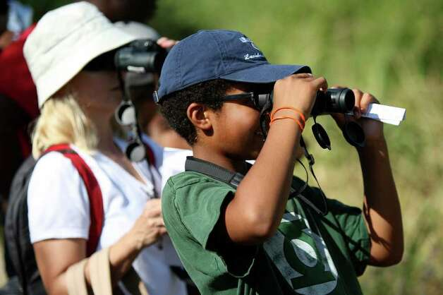 Michael, right, and Sara Dixon look through their binoculars while exploring the Mitchell Lake Audubon Center during the Alamo Area Nature Challenge on June 18, 2011.  ANDREW BUCKLEY / abuckley@express-news.net Photo: ANDREW BUCKLEY / abuckley@express-news.net