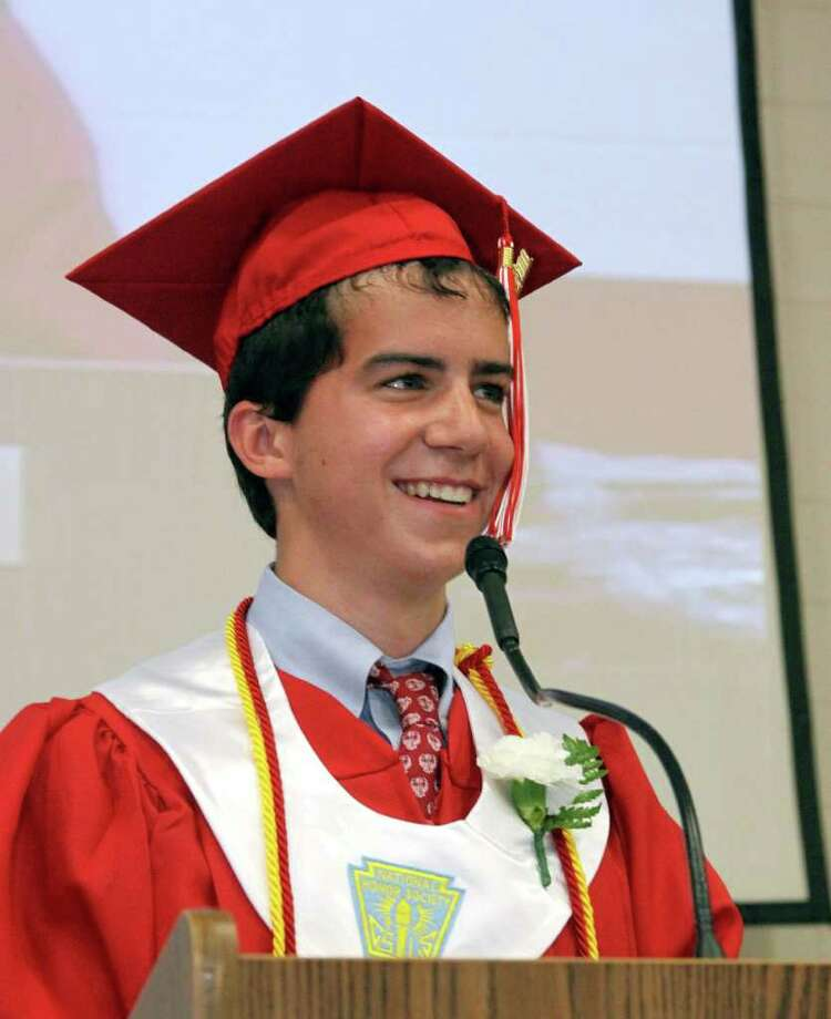 Pomperaug Valedictorian Samuel Shapiro addresses the audience Thursday evening during commencement exercises held Thursday evening. Photo taken 06/23/11. Photo: Walter Kidd / The News-Times Freelance