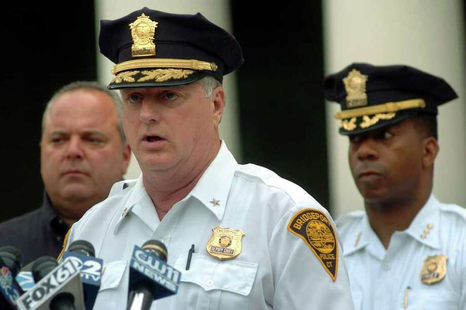 Deputy Police Chief James Honis speaks at a press conference in Bridgeport, Conn. July 4th, 2007. Photo: File Photo / Connecticut Post File Photo
