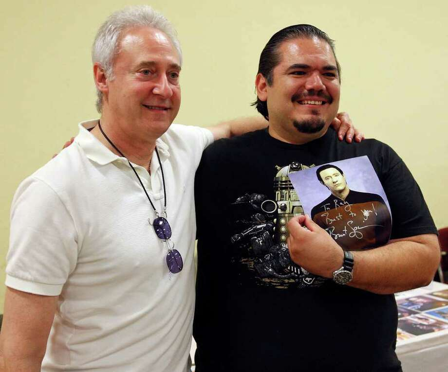 Brent Spiner (left), who played Lt. Commander Data on Star Trek: The Next Generation poses for a photo with Raymond Terrazas, 35, during the Texas Comicon 2011 Friday June 24, 2011 at the San Antonio Event Center. The comicon runs through Sunday. Photo: Edward A. Ornelas/Express-News / © SAN ANTONIO EXPRESS-NEWS (NFS)