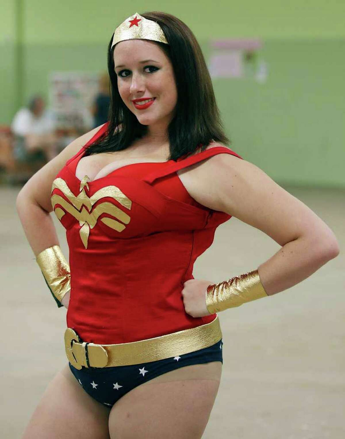 Kelly Kegley, 21, as Wonder Woman poses for a photo.
