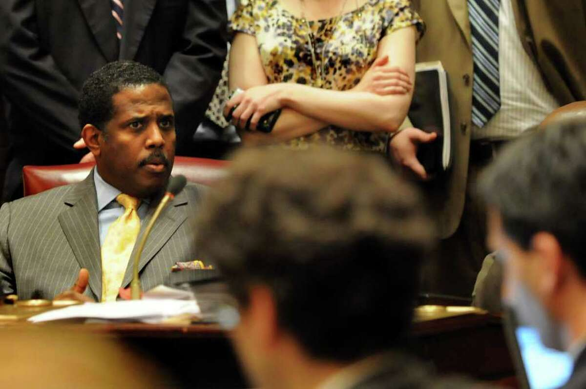 """Brooklyn state Sen. Kevin Parker, a Democrat known for his volatile temper, has landed in hot water again. The new controversy arose after a Senate Republican press aide, Candice Giove, tweeted critically about Parker on Tuesday morning. Parker's official state Senate Twitter feed then responded, """"Kill yourself!"""""""