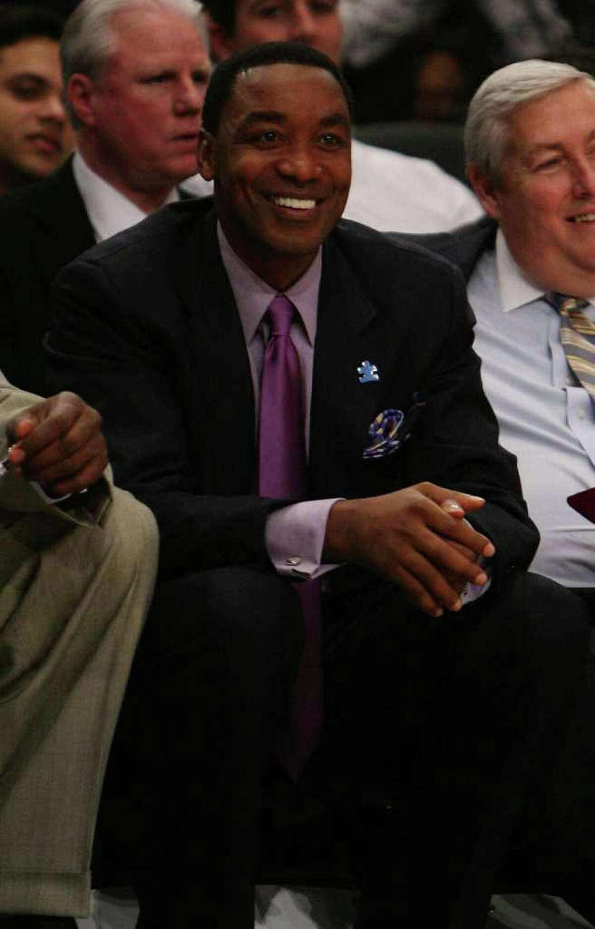 Former New York Knicks Coach Isiah Thomas smiles during a 2008 win against the Detroit Pistons at Madison Square Garden. Thomas was spotted with wife Lynn having dinner at Terra Ristorante in Greenwich Monday. (Photo by Nick Laham/Getty Images)
