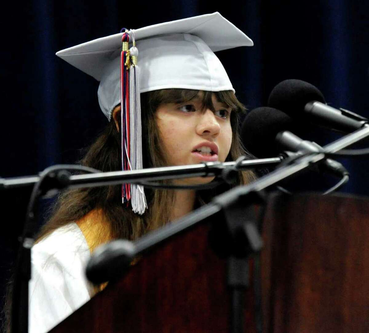 Salutatorian Mary Simons speaks at New Fairfield High School graduation ceremonies held at the William O'Neill Convocation Center in Danbury on Saturday, June 25, 2011.
