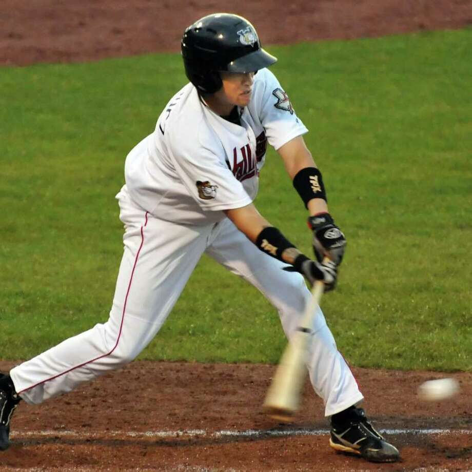 ValleyCats's #6 Hector Rodriguez connects with a low pitch for a single against the Lowell Spinners at Bruno Stadium in Troy Saturday night June 25, 2011.   (John Carl D'Annibale / Times Union) Photo: John Carl D'Annibale / 00013625C