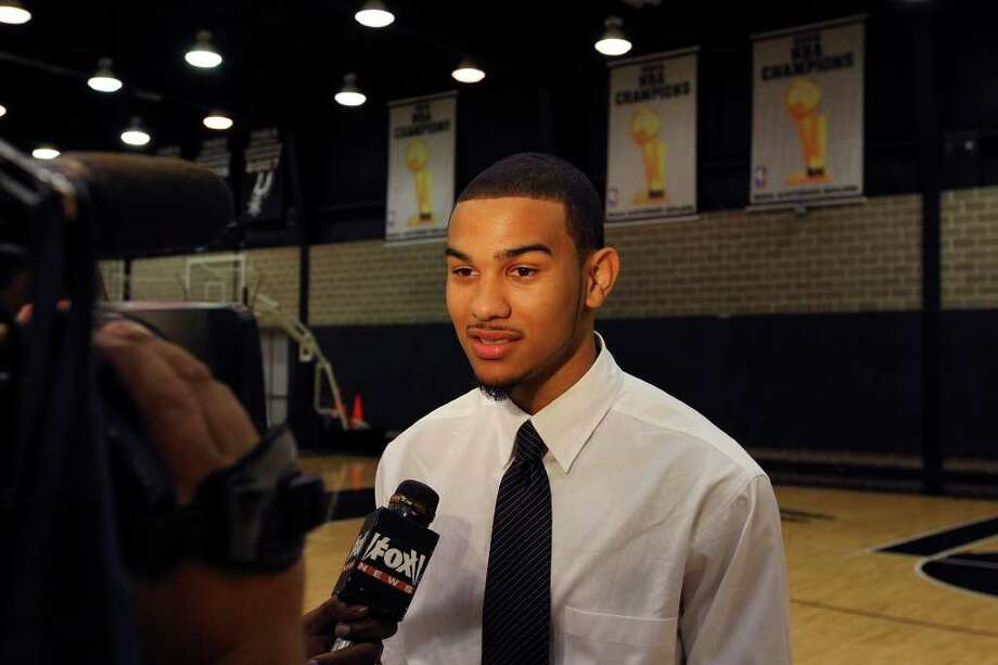 Spurs' Cory Joseph answers questions from the media Saturday June 25, 2011 at the Spurs practice facility. EDWARD A. ORNELAS/eaornelas@express-news.net Photo: EDWARD A. ORNELAS, Express-News / © SAN ANTONIO EXPRESS-NEWS (NFS)