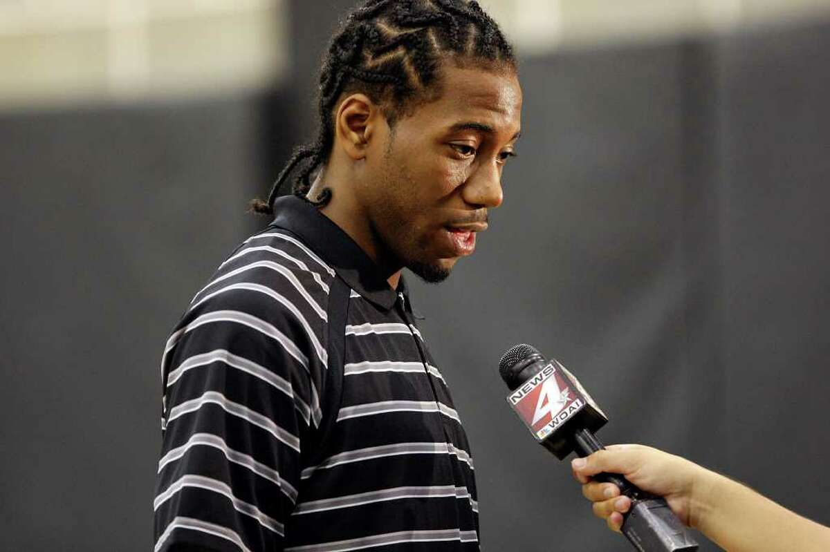 Spurs' Kawhi Leonard answers questions from the media Saturday June 25, 2011 at the Spurs practice facility. EDWARD A. ORNELAS/eaornelas@express-news.net