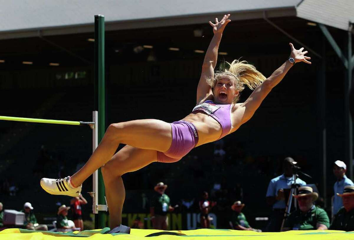 Abbie Stechschulte celebrates after clearing a personal best in the women's high jump portion of the heptathlon.