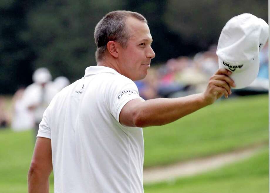 CROMWELL, CT - JUNE 26:  Fredrik Jacobson reacts on the 18th green after winning the Travelers Championship at  TPC River Highlands on June 26, 2011 in Cromwell, Connecticut.  (Photo by Jim Rogash/Getty Images) Photo: Jim Rogash, Getty Images / 2011 Getty Images