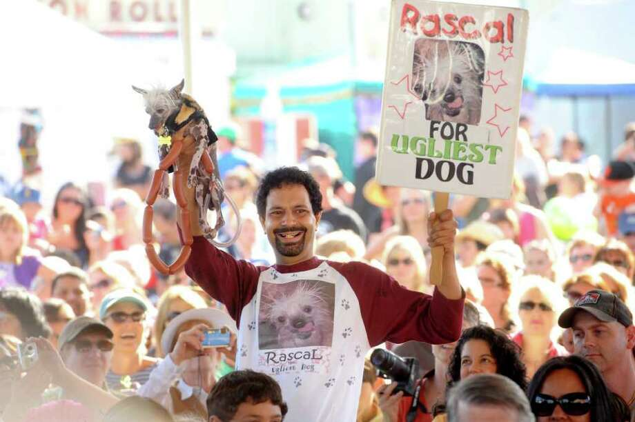 Dane Andrew campaigns Rascal in the 2011 World's Ugliest Dog Contest on Friday, June 24, 2011, in Petaluma, Calif. Rascal, an African Sand Dog who has won 14 ugly dog contests according to Andrew, did not take home top prize in this year's Sonoma-Marin Fair competition. Photo: AP