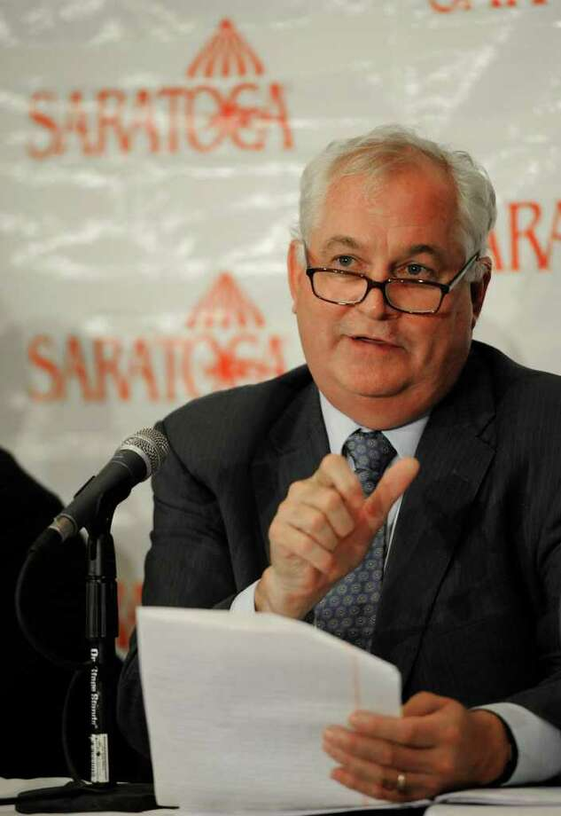 NYRA President and CEO Charlie Hayward speaks about the health of NYRA and answered questions about executive raises during a press event to kick off the Saratoga Race Course season at the Desmond Hotel in Colonie, N.Y. June 27, 2011..  (Skip Dickstein / Times Union) Photo: SKIP DICKSTEIN / 00013682A