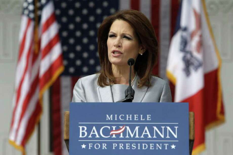 Rep. Michele Bachmann, R-Minn., speaks to supporters during her formal announcement to seek the 2012 Republican presidential nomination, Monday, June 27, 2011, in Waterloo, Iowa.  Bachmann, who was born in Waterloo, will continue her announcement tour this week with stops in New Hampshire and South Carolina. (AP Photo/Charlie Neibergall) Photo: Charlie Neibergall