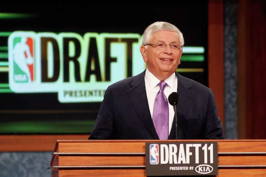NEWARK, NJ - JUNE 23:  NBA Commissioner David Stern speaks at the podium during the 2011 NBA Draft at the Prudential Center on June 23, 2011 in Newark, New Jersey.  NOTE TO USER: User expressly acknowledges and agrees that, by downloading and/or using this Photograph, user is consenting to the terms and conditions of the Getty Images License Agreement.  (Photo by Mike Stobe/Getty Images) Photo: Mike Stobe / 2011 Getty Images