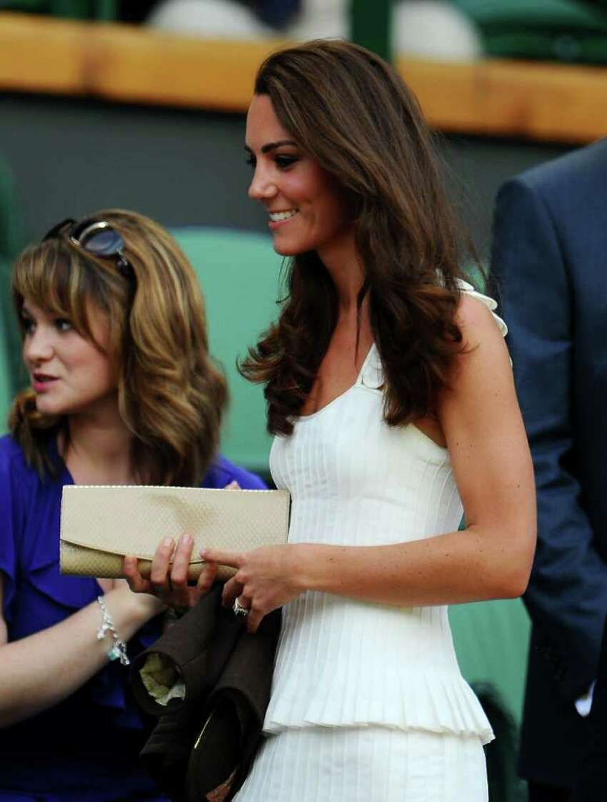 LONDON, ENGLAND - JUNE 27: Catherine, Duchess of Cambridge attends the fourth round match between Andy Murray of Great Britain and Richard Gasquet of France on Day Seven of the Wimbledon Lawn Tennis Championships at the All England Lawn Tennis and Croquet Club on June 27, 2011 in London, England. (Photo by Clive Mason/Getty Images)