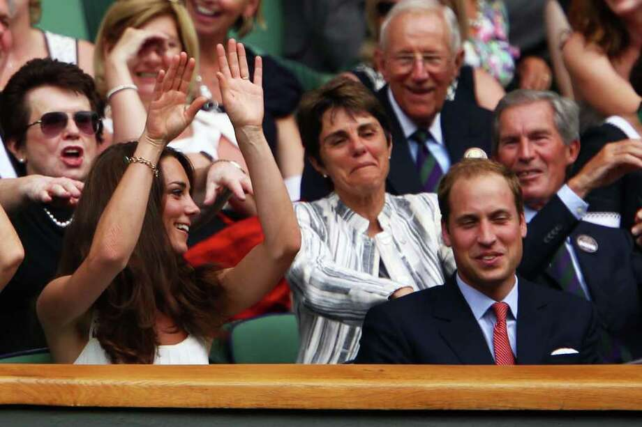 LONDON, ENGLAND - JUNE 27:  Billie Jean King, Catherine, Duchess of Cambridge and Prince William, Duke of Cambridge  participate in the wave during the fourth round match between Rafael Nadal of Spain and Juan Martin Del Potro of Argentina on Day Seven of the Wimbledon Lawn Tennis Championships at the All England Lawn Tennis and Croquet Club on June 27, 2011 in London, England.  (Photo by Clive Brunskill/Getty Images) Photo: Clive Brunskill, Getty Images / 2011 Getty Images
