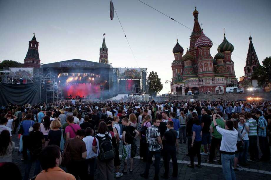 Rock band Linkin Park perform for the world premiere of Hollywood blockbuster Transformers: Dark of the Moon on Thursday in Red Square before a crowd of thousands  in Moscow,  Russia, Thursday, June 23, 2011, with the St. Basil Cathedral at the right.. Photo: Alexander Zemlianichenko, AP / AP