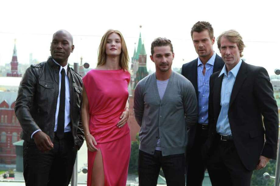 Tyrese Gibson, Rosie Huntington-Whiteley, Shia LaBeouf, Josh Duhamel, director Michael Bay pose during a photo call for the world premiere of Hollywood blockbuster Transformers: Dark of the Moon, in Moscow, Thursday, June 23, 2011. Photo: Yury Samolygo, AP / AP
