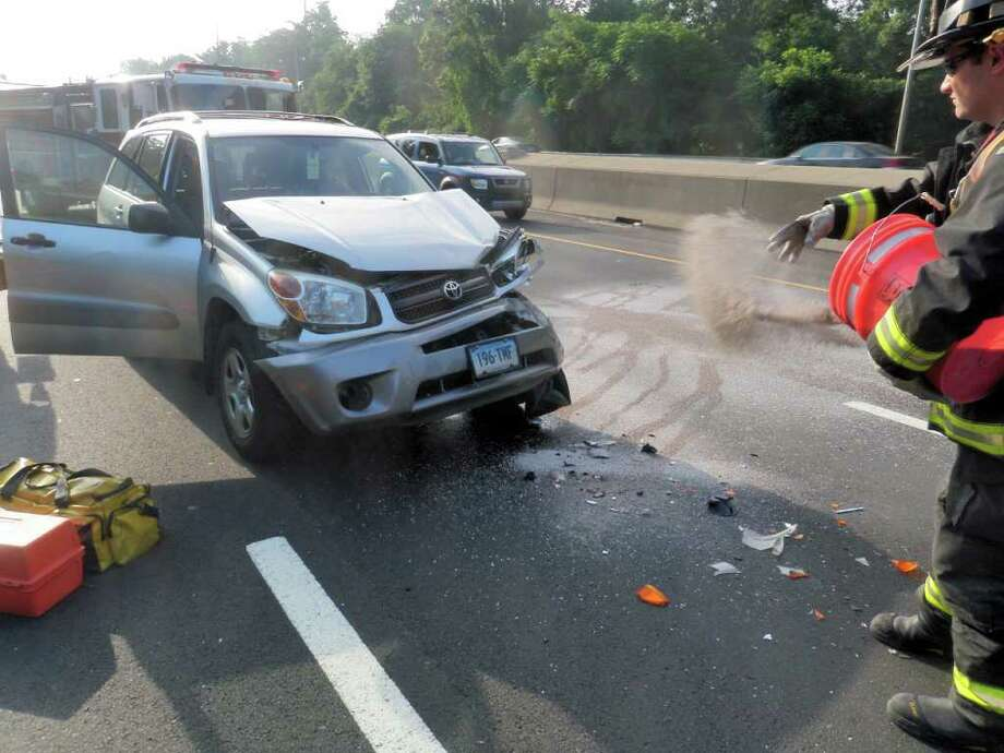 The Westport Fire Department responded to a crash on Interstate 95. Photo: Contributed Photo / Westport News