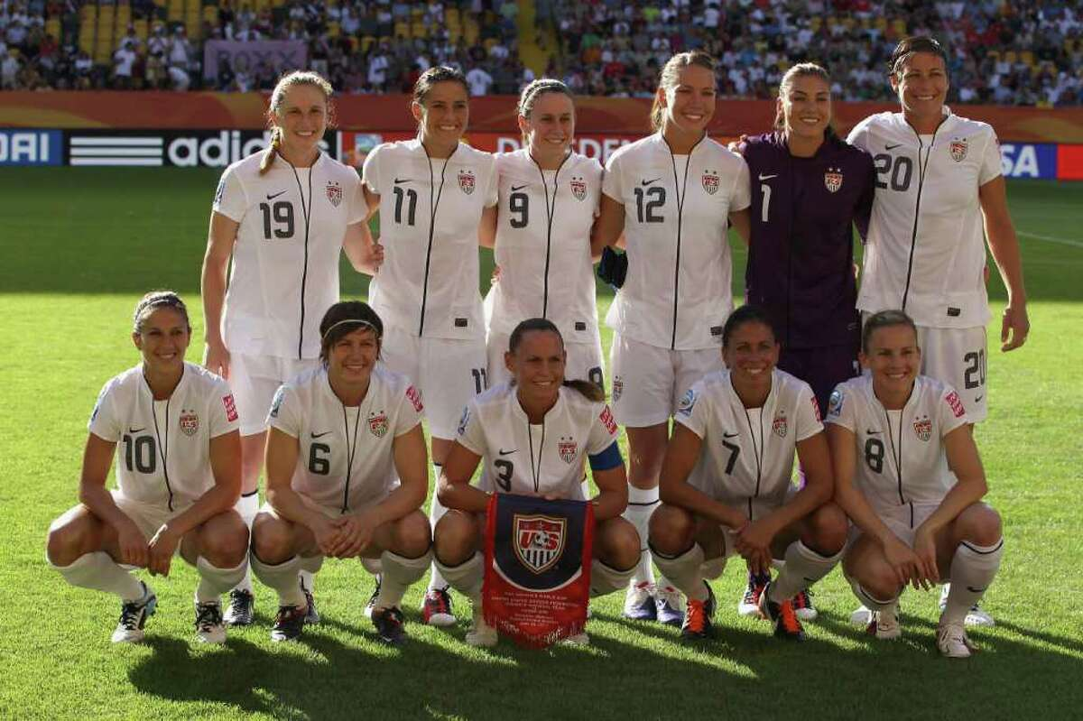 The U.S. team lines up before the 2011 FIFA Women's World Cup gruop C match between USA and North Korea at the Dresden Arena on June 28, 2011 in Dresden, Germany.