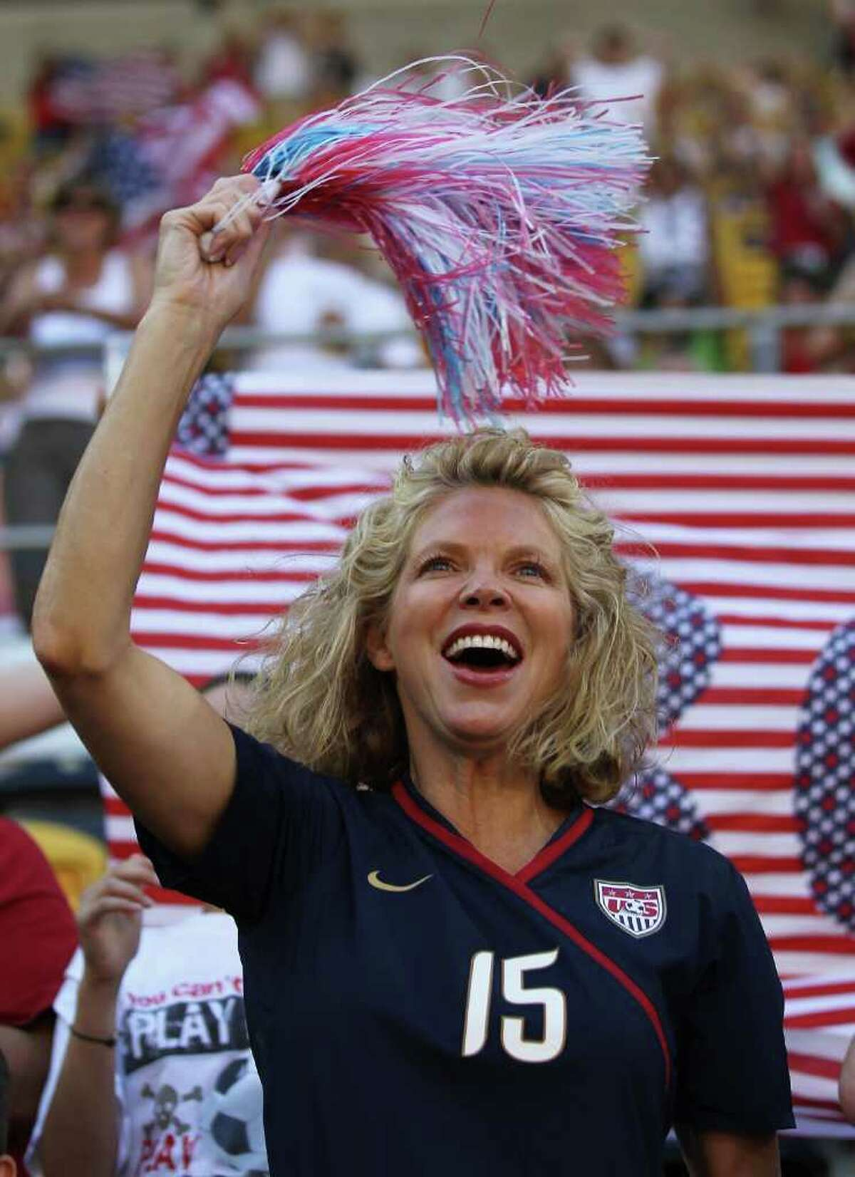 DRESDEN, GERMANY - JUNE 28: A fan of USA celebrates prior to the FIFA Women's World Cup Group C match between USA and Korea at Rudolf-Harbig-Stadion on June 28, 2011 in Dresden, Germany. (Photo by Boris Streubel/Getty Images)