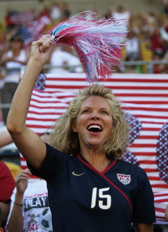 DRESDEN, GERMANY - JUNE 28:  A fan of USA celebrates prior to the FIFA Women's World Cup Group C match between USA and Korea at Rudolf-Harbig-Stadion on June 28, 2011 in Dresden, Germany.  (Photo by Boris Streubel/Getty Images) Photo: Boris Streubel, Getty Images / 2011 Getty Images