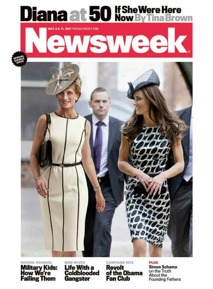 In this magazine cover image released by Newsweek, a computer-generated image of Princess Diana is shown with Kate Middleton on the cover of the July 4, 2011 issue of Newsweek magazine. Diana was killed in a car accident in 1997 and would have turned 50 on Friday. In April, Middleton married Prince William, the oldest son of Diana and Prince Charles. (AP Photo/Newsweek)